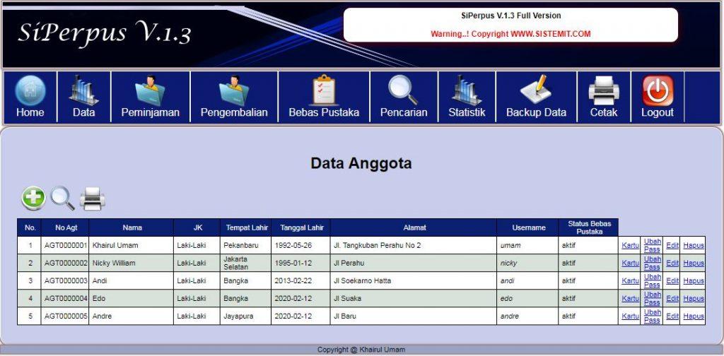 Data Anggota Perpustakaan