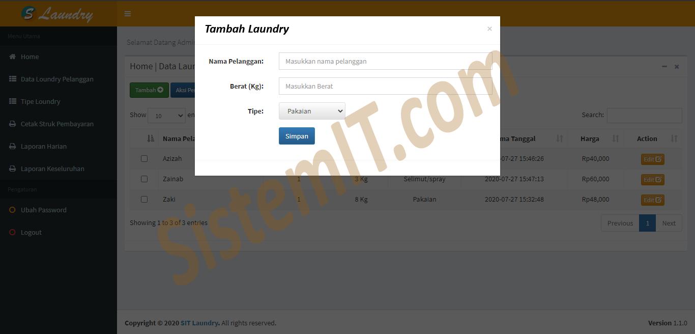 Aplikasi Laundry Php Mysql